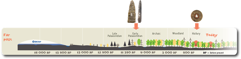 The projectile point (B) and the stone borer (C) are dated from the Late Palaeoindian period.